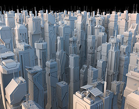 3D asset 30 LOW POLY Sci-Fi Skyscrapers Pack