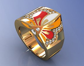 3D print model Floral Design Enamel Ring 14K and Diamond