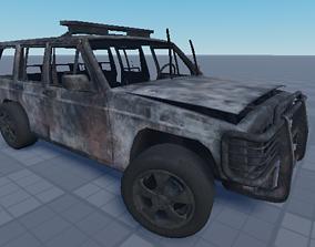 Destroyed Car 3D model rigged realtime