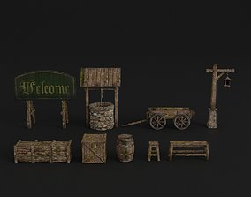 OLD MEDIEVAL PROPS ASSET AND GROUND TILEABLE 3D model