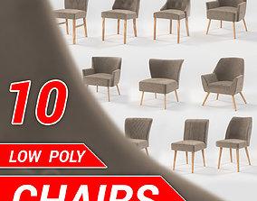 3D asset 10 chairs set