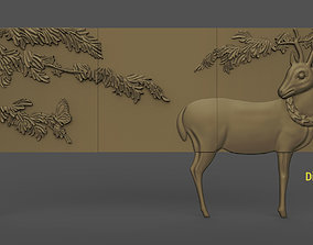 Buffet with deer stl model for cnc and 3d printer