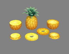 3D asset Cartoon fruit - pineapple and slice