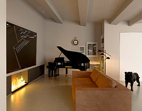3D model piano with chair