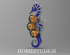 3D printable model PENDANT SEAHORSE WITH ENAMEL AND STONES