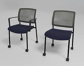 3D model GAYA - Ergonomic chair with castors - plastic