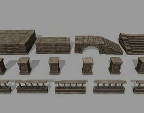 3D asset low-poly ruin set