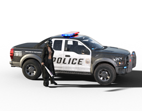 Rioter and Police truck 3D model