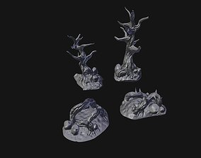 Gnarled Trees and Roots Scenery Set 3D printable model
