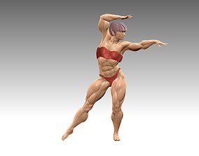Bodybuilder bikini figure dancing poses 3D print model