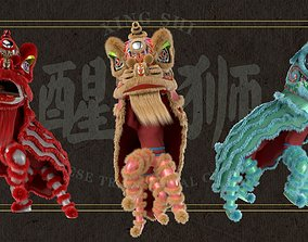 Lion dance Rigged Model rigged