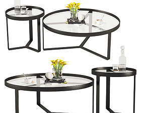 Aula Coffee Table Side Table Black and Gray 3D model