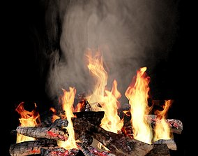 Fireplace fire 3D smoking