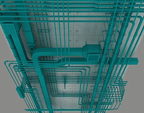 Pipes industrial ceiling pump 3D model