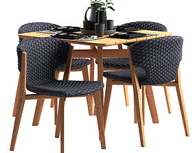 Ethimo Knit dining chair and square table 3D model