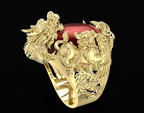 1582 Lucky Men Ring with 4 Mascot 3D printable model
