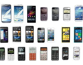 3D asset Low poly mobile phone collection