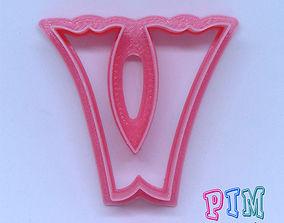 Vintage letter V cookie cutter 3D printable model