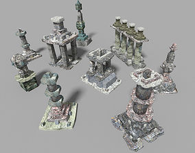 9 low poly temple pillars collection 3D model
