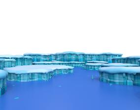 cartoon Ice land glacier 3D model
