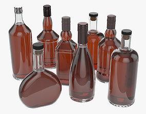3D whiskey glass bottles vol1