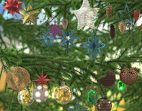 3D model Christmas tree toys set