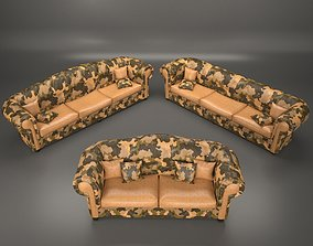 3D model low-poly Sofa Chesterfield