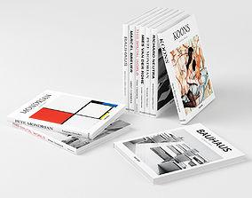 3D Bauhaus Books decorative set