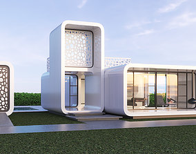 3D model Futuristic residential house 01