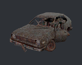 Apocalyptic Damaged Destroyed Vehicle Car Game 3D model 1