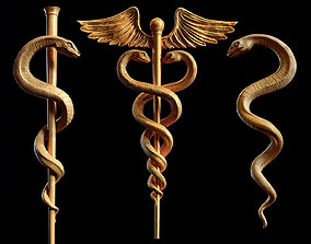 3D model Caduceus Medical symbol