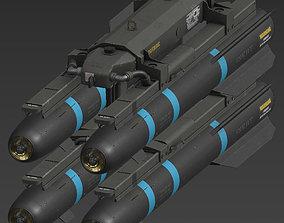 Hellfire Missile Launcher 3D asset low-poly