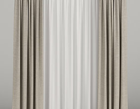 3D Beige curtains with tulle