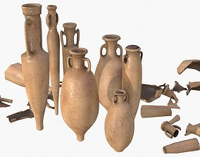 3D model game-ready Amphora - Old Terracotta