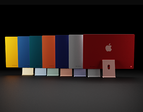 Apple Silicon iMac 24 inch in All Official Colors 3D model