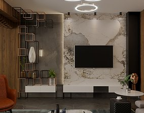 living room 3d model interior morden with parametric 1