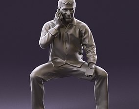 001023 man in seat pose talking on phone 3D Print Ready