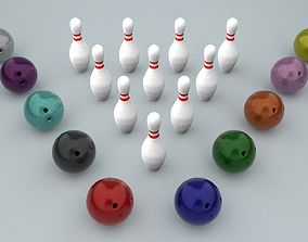 3D model Bowling Ball and Pins