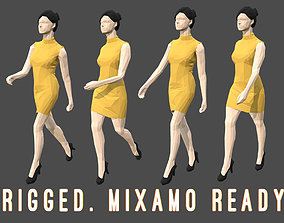 3D asset Rigged Lowpoly Woman 2