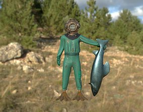 Scuba diver 3D asset rigged