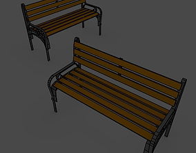 Low Poly Bench 3D asset