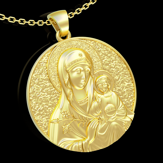 Mother Mary with Jesus Christ Saint pendant jewelry gold 3D print model