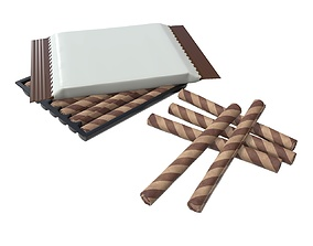 3D model Blank package with waffle rolls