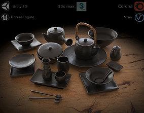 Japanese tableware set 3D asset realtime