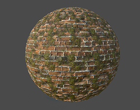 3D Mossy Brick Wall Tileable Material