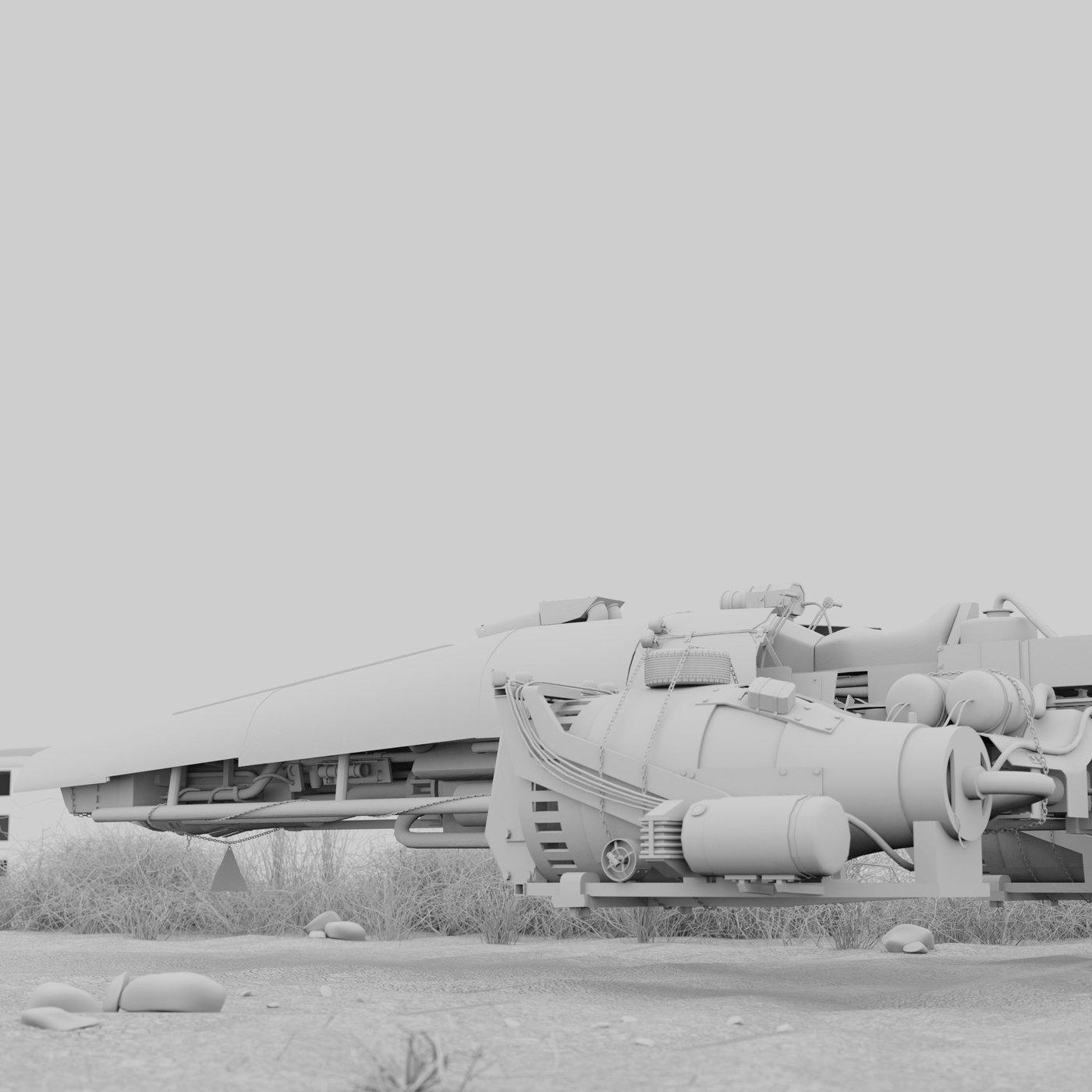 Flying car, wasteland.
