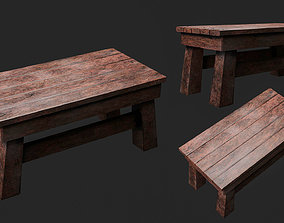 3D model Wooden Table Low Poly