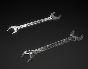 Double Open-End Wrench 3D asset realtime