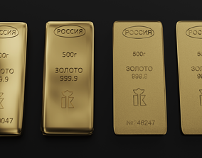 3D Gold bars 500gr gold
