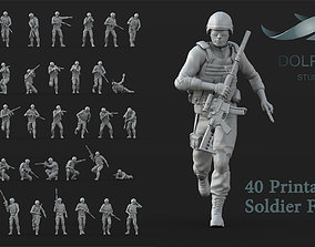 40 US Marines Soldier figures 3D print model